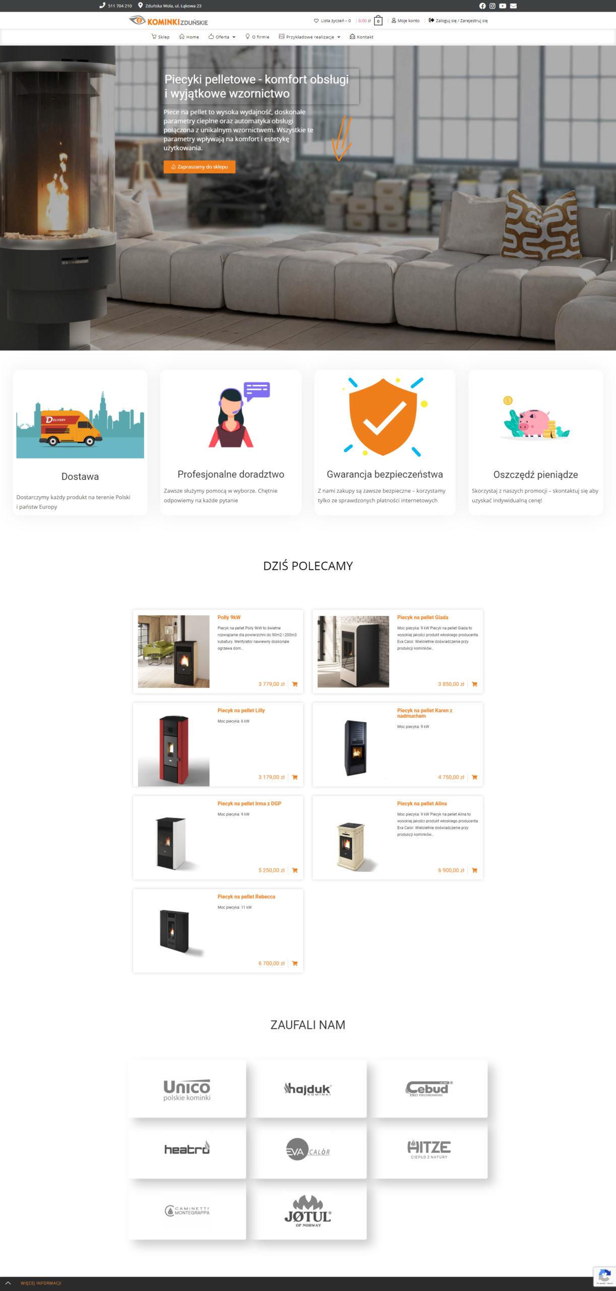 kominkizdunskie.pl - widok strony WWW